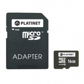 PLATINET microSDHC  SECURE DIGITAL + ADAPTER SD 16GB class10 [42209]