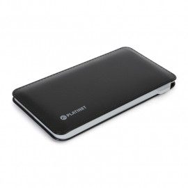 PLATINET POWER BANK LEATHER 6000mAh 2A polymer BLACK + microUSB cable [42834] EOL