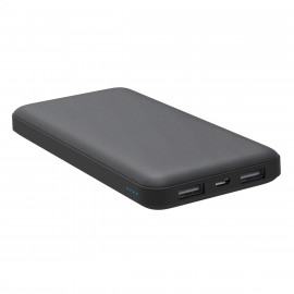 PLATINET POWER BANK 10000mAh POLYMER 2.1A DUAL OUTPUT  BLACK + MICROUSB CABLE [45217]