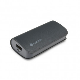 PLATINET POWER BANK LEATHER 5200mAh  GREY + microUSB cable [43410]
